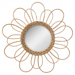 Miroir en rotin fleur D38