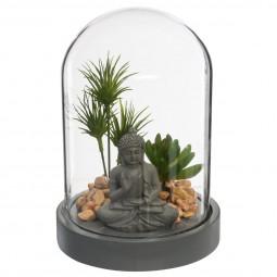 Jardin zen sous cloche H 20 cm