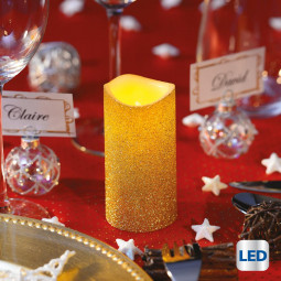Bougie lumineuse à LED Or pailleté D 5 x H 10 cm La maison des couleurs