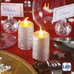 Lot de 2 Bougies votives lumineuses à LED Argent pailleté H 7.5 cm La maison des couleurs