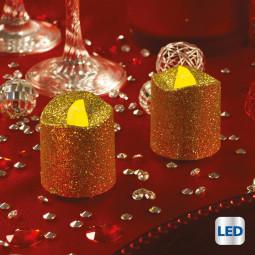 Lot de 2 Bougies lumineuses à LED Or pailleté H 4 cm La maison des couleurs