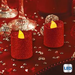 Lot de 2 Bougies lumineuses à LED Rouge pailleté H 4 cm La maison des couleurs