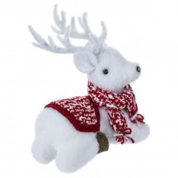 Décoration de Noël Renne assis avec écharpe H 21 cm Comptoir de Noël
