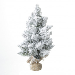 Sapin de Noël artificiel Vert floqué Blanc H 50 cm collection Blooming