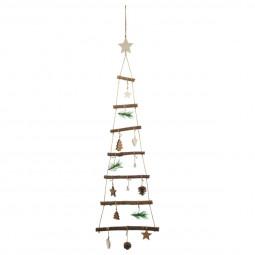 Décoration de Noël Sapin à suspendre en bois avec déco H 75 cm Un Noël kinfolk