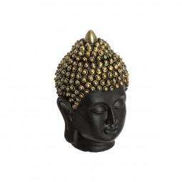 Tête de bouddha noir et bronze H 18  cm
