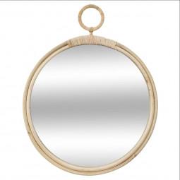 Miroir en rotin rond diamètre 38 cm