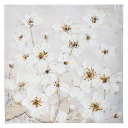 Toile peinture acrylique fleurs 58 x 58 cm
