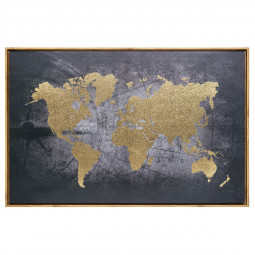 Toile  imprimée avec cadre thème carte du monde 58 x 88 cm