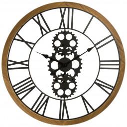 Grande pendule en métal et bois D 70 cm style industriel
