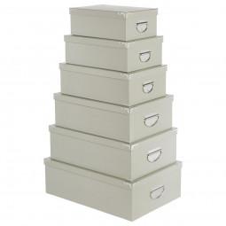 Lot de 6 boîtes coins métal uni gris clair
