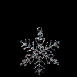 Décoration Sujet de Noël Flocon pailleté translucide bleuté D 13.5 cm Comptoir de Noël