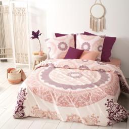 Parure de lit 2 personnes imprimée mandala rose 240x220 cm