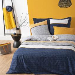 Parure de lit 2 personnes imprimée rayures ethniques bleues 240x220