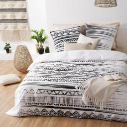 Parure de lit 2 personnes Imprimé ethnik noir et blanc 240x220 cm