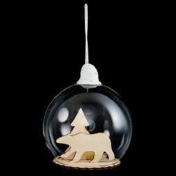 Décoration de sapin Boule de Noël en verre avec silhouette en bois D 10 cm  A l'orée des bois