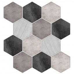 Set de 2 planches sticker déco carreaux effet relief 12 hexagones multicolores  24 x 25 cm