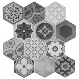 Set de 2 planches sticker déco carreaux effet relief 12 hexagones gris  24 x 24 cm