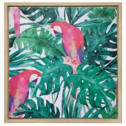 Toile imprimée avec cadre thème jungle 48 x 48 cm
