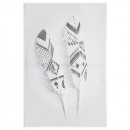 Toile imprimée avec cadre thème plumes 60 x 90 cm