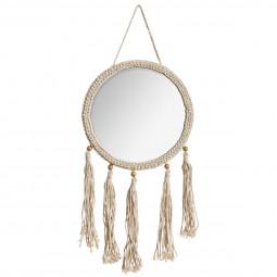 Miroir rond avec pompons bohemian dream D 30 cm