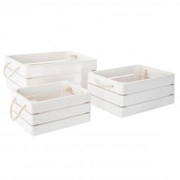 Lot de 3 caisses cagettes bohemian dream blanc