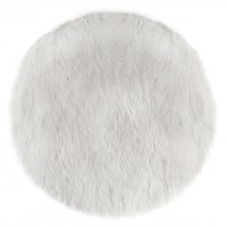Tapis rond D90 cm fourrure rond blanche