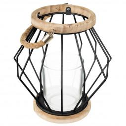 Lanterne métal filaire noir H 19 cm