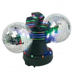 Table Disco 2 Boules à facettes rotatives, lumineuses et clignotantes