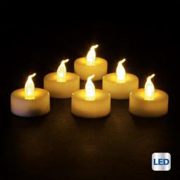 Lot de 6 Bougies lumineuses à LED Blanc pailleté H 5.5 cm La maison des couleurs
