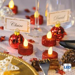 Lot de 6 Bougies lumineuses à LED Rouge pailleté D 4 cm La maison des couleurs
