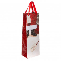 Sac Cadeau imprimé Père Noël avec fourrure pour Bouteille H 36 cm Les incontournables