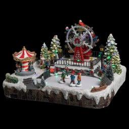 Village de Noël lumineux et animé Carrousel et Grande roue