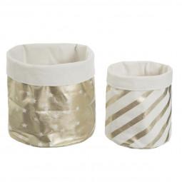 2 bacs de rangement en coton doré douceur