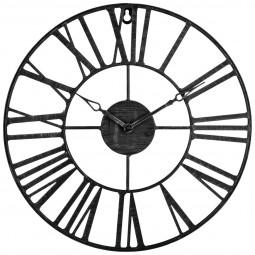 Pendule métal vintage noir d 36.5 cm