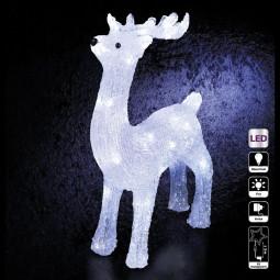 Décoration lumineuse extérieur Renne debout 40 LED Blanc froid H 45 cm