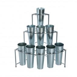Etagère Présentoir pour fleurs en zinc avec 9 caches pots