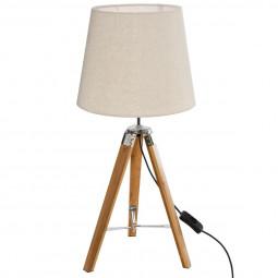 Lampe Trépied en Bambou et abat-jour beige Runo H 58 cm