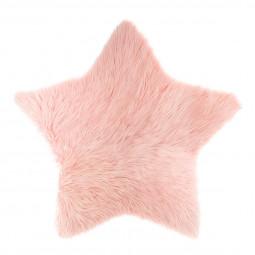 Tapis fourrure étoile rose 95 x 90 cm