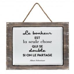 Plaque décorative en bois et céramique citation 40 x 30 cm