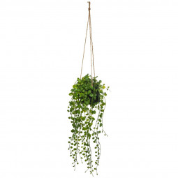 Suspension plante artificielle dans pot en ciment blush living