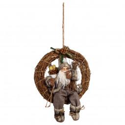 Décoration de Noël Couronne avec Père Noël traditionnel D 33 cm  Comptoir de Noël