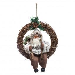 Décoration de Noël Couronne avec Père Noël traditionnel D 33 cm  A l'orée des bois