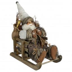 Décoration de Noël Père Noël dans sa luge  26 x 26 x 15 cm A l'orée des bois