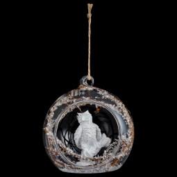 Décoration de sapin Boule de Noël ouverte en verre deco animal D 8 cm  A l'orée des bois