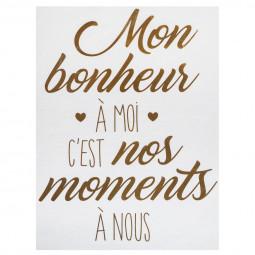 """1 planche sticker déco citation """"bonheur"""" 30 x 40 cm"""