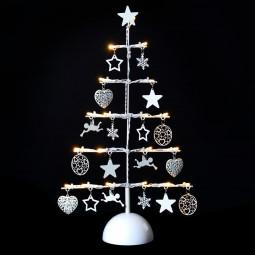 Décoration Intérieur de Noël Sapin en Métal avec décoration et Lumineux à LED H 45 cm