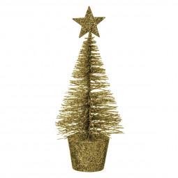 Décoration de Noël Sapin de table en métal coloris Or pailleté avec son pot H 14 cm collection Esmée