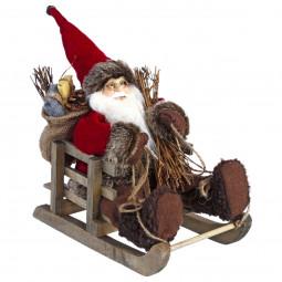 Décoration de Noël Père Noël dans sa luge 26 x 26 x 15 cm Comptoir de Noël