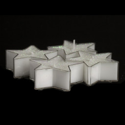 Lot de 4 Bougies Etoiles chauffe plat Blanc pailleté D 6 cm 24G La maison des couleurs